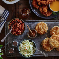 chicken supremes biscuits coleslaw and beans